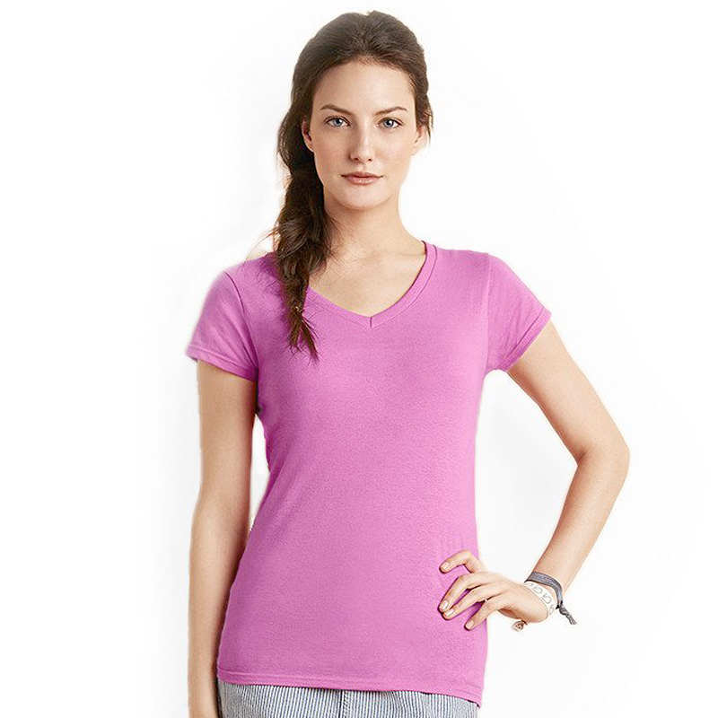 GILDAN ladies soft style v-neck azalea