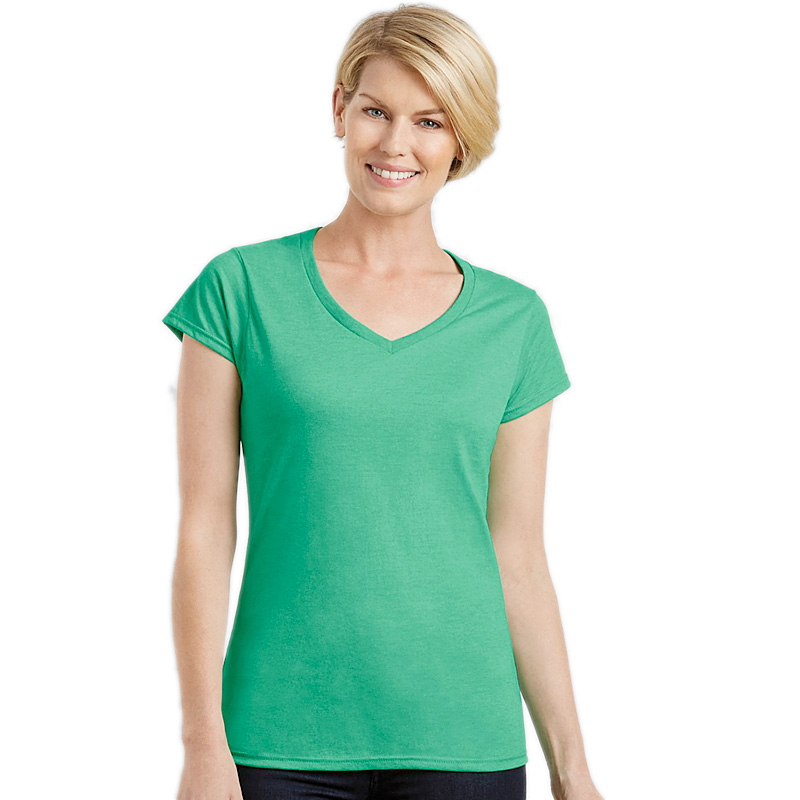 GILDAN ladies soft style v-neck irish green