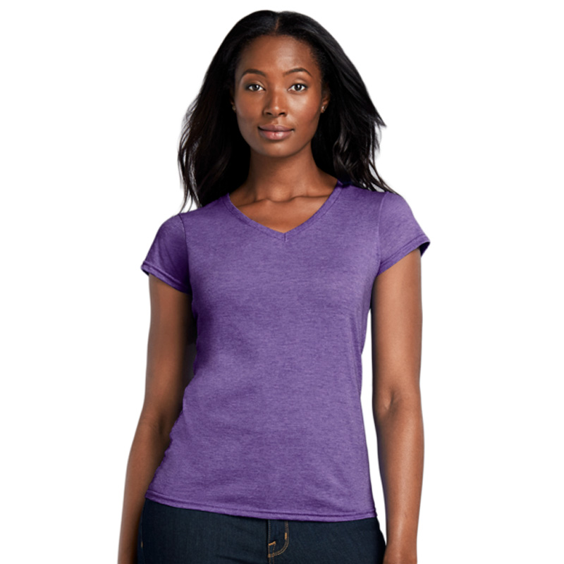 GILDAN ladies soft style v-neck purple