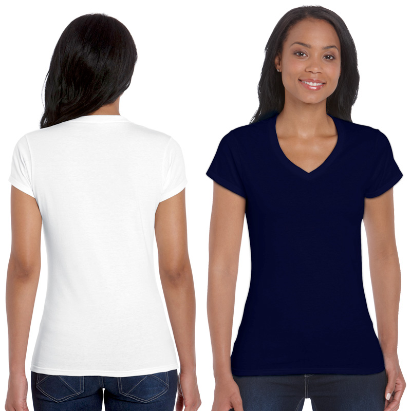 GILDAN ladies soft style v-neck white and navy