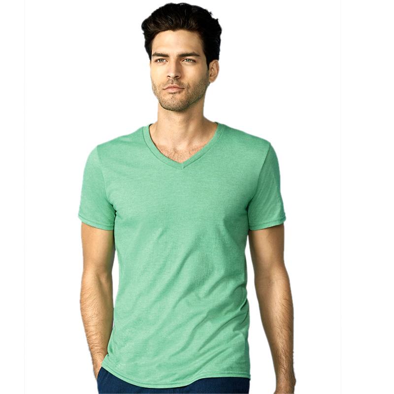 GILDAN mens soft style v-neck heather irish green