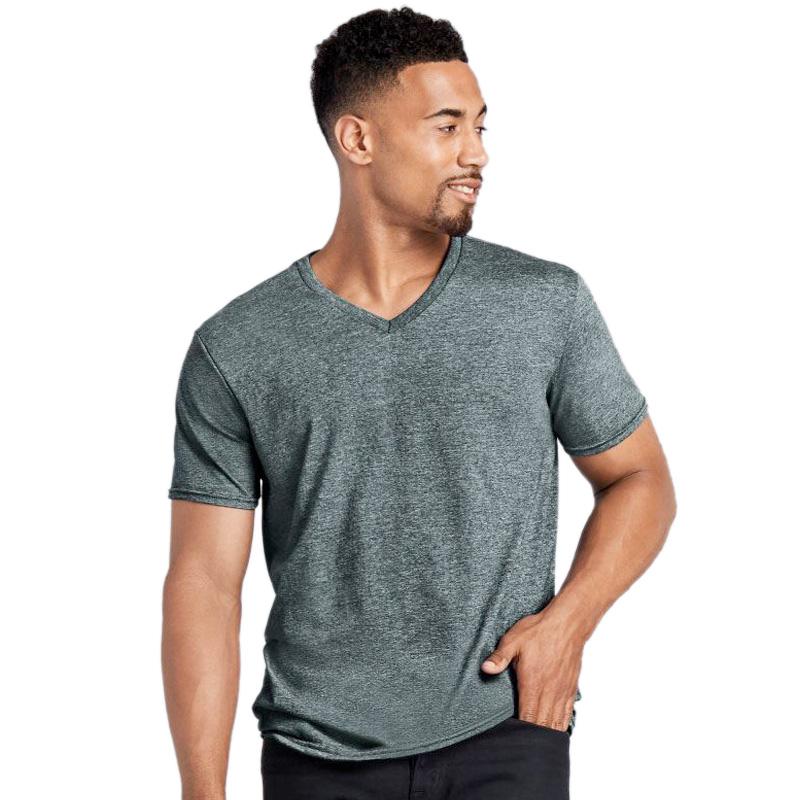 GILDAN mens soft style v-neck sport grey