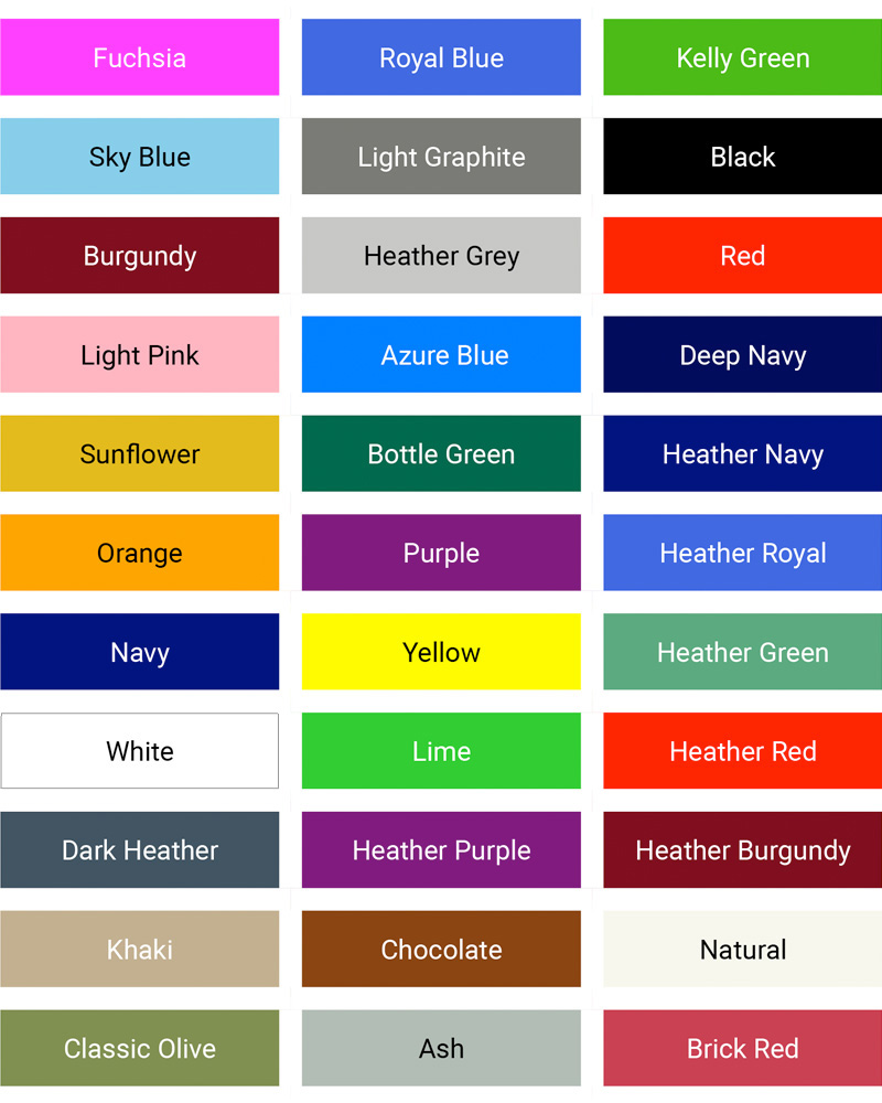 Mens value weight colours