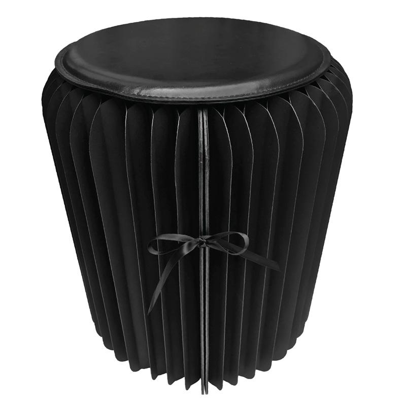 Pleated paper stool black