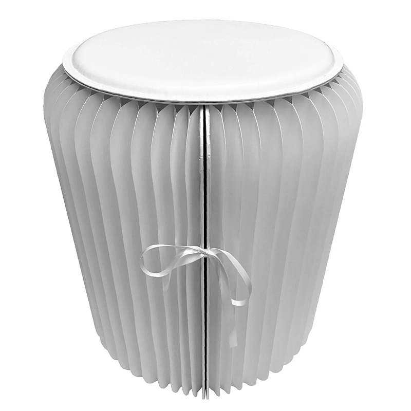 Pleated paper stool white