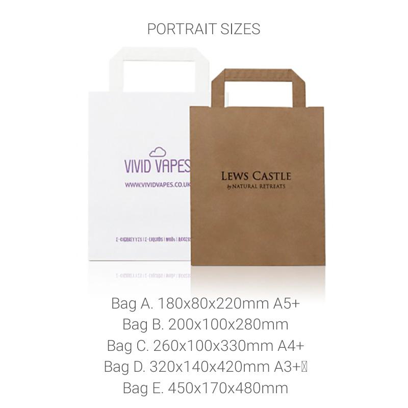 Folded handle portrait sizes