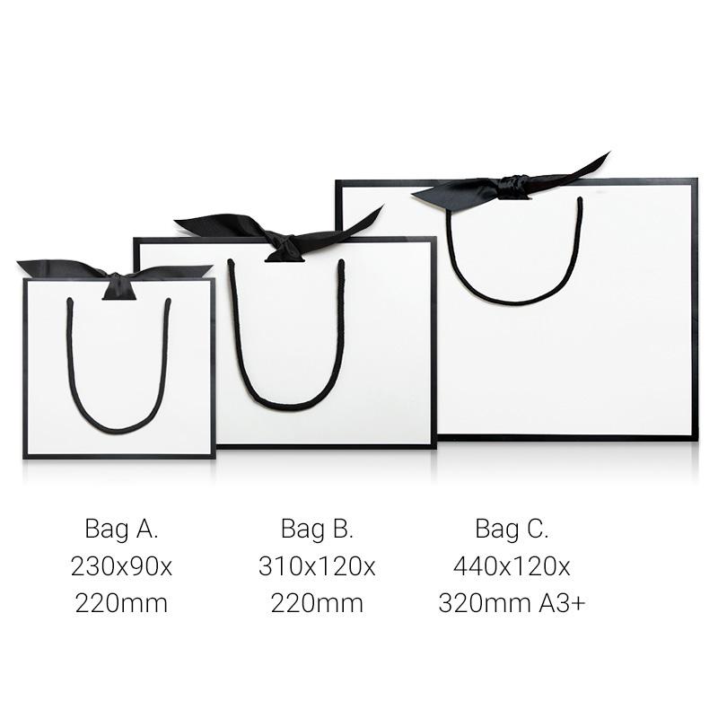 Ribbon tie white with black borders