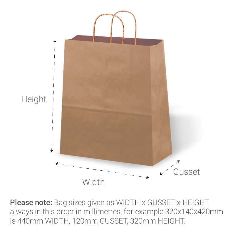 Twisted handle bags dimensions