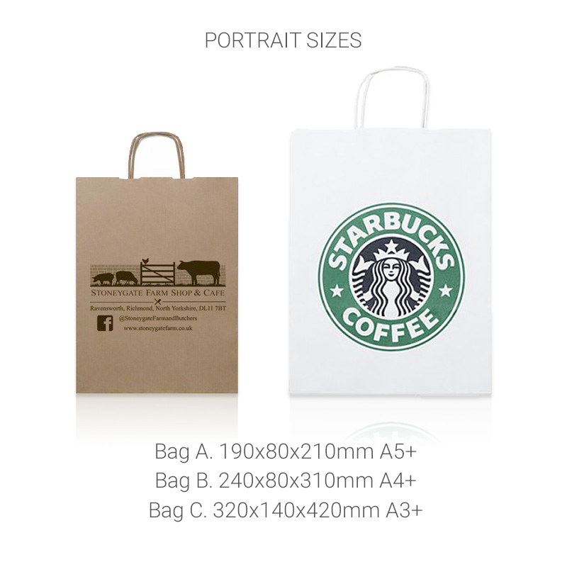 Twisted handle bags portrait sizes