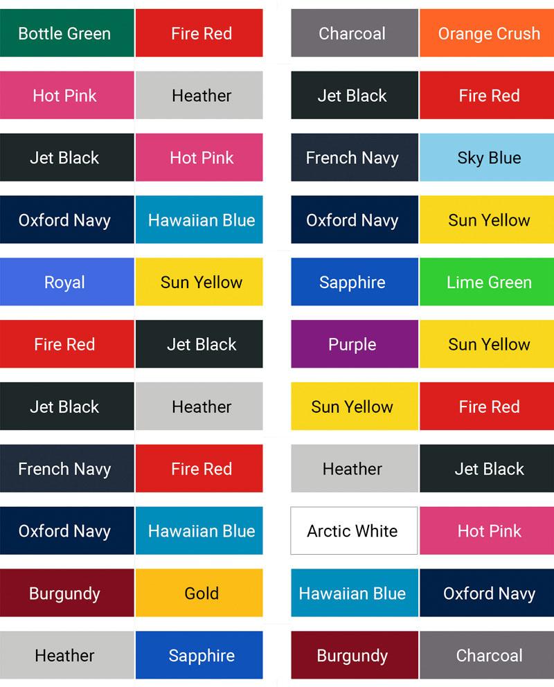 AWDis Varsity hood colour palette